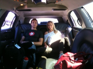 Sean Lerwill and Danielle Holbrook of W Atheltic enjoying a limo ride