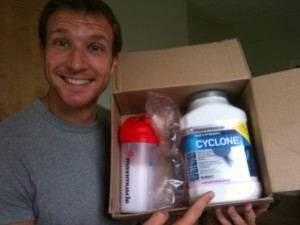 Sean's happy with his raspberry ripple flavoured Cyclone