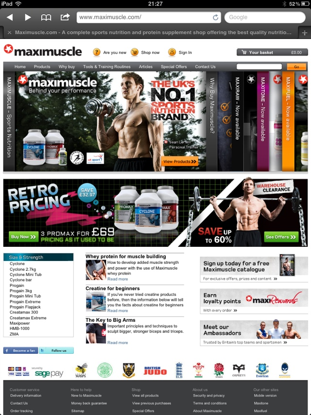 Sean Lerwill on the MaxiNutrition website