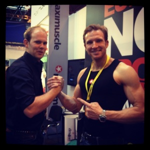Sean Lerwill and Russell Smith at the Maximuscle stand, BodyPower 2012.