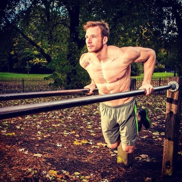 Sean training outdoors